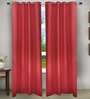 House This Red Cotton 60 x 48 Inch Solid Eyelet Window Curtain