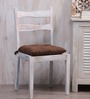 House This Wood Brown Cotton 16 x 16 Inch Chair Pad