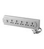 HPL White 10 x 4 x 4 Inch Plastic 5-socket Sub Port Power Strip