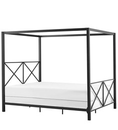 Hudson Canopy King Size Bed in Black Colour by Asian Arts