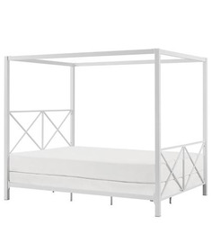 Hudson Canopy King Size Bed in White Colour by Asian Arts
