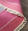 Hyde Park Pink Wool & Cotton Hand Woven Reversible Flat Weave Carpet