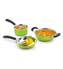 Ideale Green Stainless Steel Induction Friendly 3-piece Cookware Set