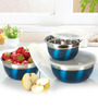 Ideale Prep & Store Blue Stainless Steel 3-piece Bowl Set