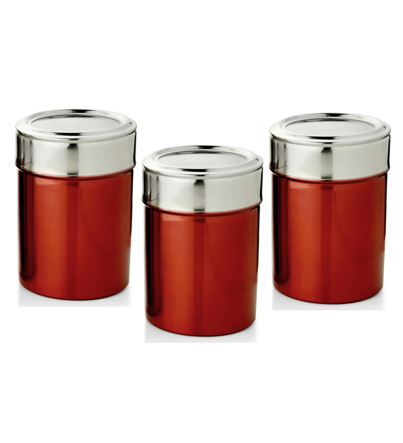 ihomes set of 3 canisters red by ihomes online