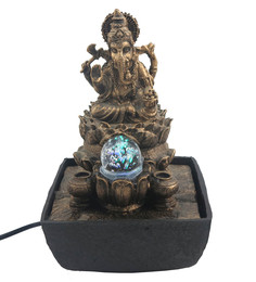 Importwala Antique Gold Polyresin Lord Ganesha With Crystal Ball Led Water Fountain