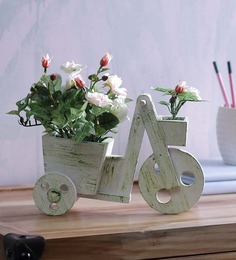 Importwala Cart Peach Polyester Artificial Flower