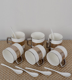 Importwala Porcelain Multicolored Checks 200 ML 12-piece Mug and Spoon Set