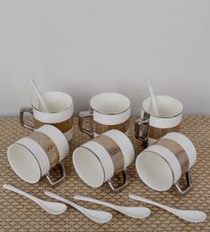 Importwala Porcelain Multicolored Checks 200 ML 12-piece Mug and Spoon Set