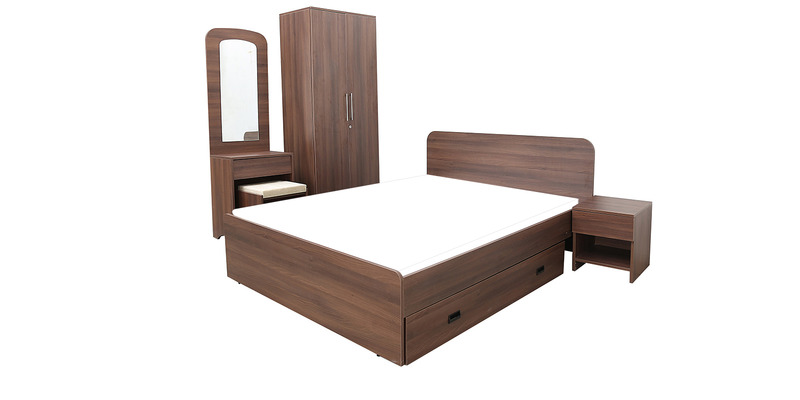 Imperial Bedroom Set with Two Door Wardrobe, Queen Bed with Storage, Dressing Table & Bedside Table in Brown Colour by Pine Crest