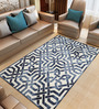 Imperial Knots Blue & White Wool 96 x 60 Inch Dip Dyed Interlock Pattern Hand Tufted Carpet