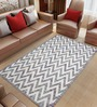 Imperial Knots Grey & White Wool 96 x 60 Inch Chevron Flat weave Area Rug