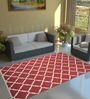 Imperial Knots Red & Ivory Wool 96 x 60 Inch Trellis Handwoven Flat weave Area Rug