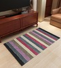 Imperial Knots Stripes Pastel Shades Flatweave Wool Area Rug