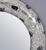 Importwala Black & Silver Wood & Glass Round Mosaic Mirror