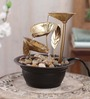 Importwala Brown & Gold Metal 3 Leaf Without Led Fountain