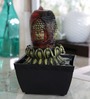 Importwala Buddha Head on Flower Multicolor Polyresin LED Fountain