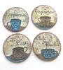 Importwala Cappuccino Multicolour Ceramic Coaster - Set of 4