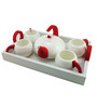 Importwala Red Ceramic and Wood 6-piece Tea Pot Set