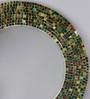 Importwala Multicolour Glass & Wood Round Mosaic Mirror