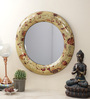 Importwala Red & Gold Wood & Glass Round Mosaic Mirror