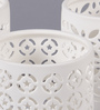 Importwala White Ceramic Elegant Lace Tea Light Holder - Set of 3