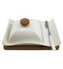 Importwala White Square 250 ML 4-piece Butter Dish Set