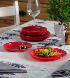 Incrizma Red Melamine Round Plates - Set Of 12