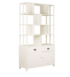 Indian Heritage Theme Book Case in Ivory Finish by Pink Guppy