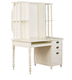 Indian Heritage Theme Desk with Hutch Cabinet in Ivory Finish by Pink Guppy