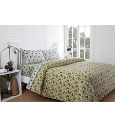 Inhouse by Maspar Leaf Print Green 1 Double Bedsheet with 2 Pillow Cover