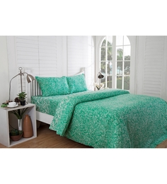 Inhouse by Maspar Indienne Print Green 1 Double Bedsheet with 2 Pillow Cover