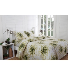 Inhouse by Maspar Dahlia Print Green 1 Double Bedsheet with 2 Pillow Cover