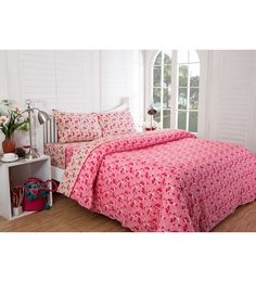 Inhouse by Maspar Leaf Print Red 1 Double Bedsheet with 2 Pillow Cover