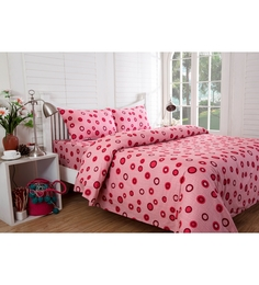 Inhouse by Maspar Circle in Circle Print Red 1 Double Bedsheet with 2 Pillow Cover
