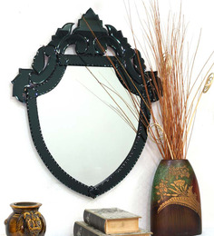 Venetian Design Black Glass & MDF Shield Design Decorative Mirror