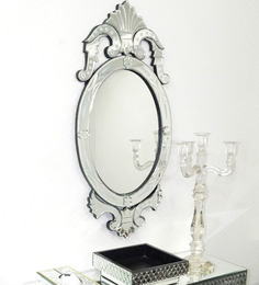 Venetian Design Silver Glass & MDF Floral Oval Decorative Mirror