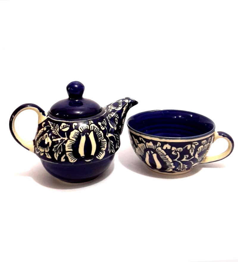 Indeasia Srijan Blue Stoneware Floral Teapot with Cup  available at Pepperfry for Rs.489