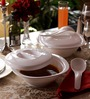 Incrizma Plastic 2 pc Serving Bowls With Lid And Spoons White