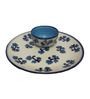 Indeasia Srijan White and Blue Ceramic Snacks Plate with Sauce Dip Bowl