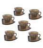 Indeasia Srijan Golden Brown Floral Stoneware 180 ML Cup and Saucer - Set of 6
