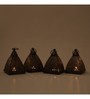 Indecrafts Etched Bronze Iron Pyramid Tealight Holder - Set of 4