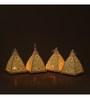 Indecrafts Etched White Iron Pyramid Tealight Holder - Set of 4