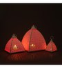 Indecrafts Etched White Iron Pyramid Tealight Holder - Set of 3