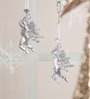 Mapleton Set Of 2 Hanging Ornament Showpiece in Silver by Amberville