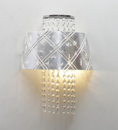 Jainsons Emporio Crystal Bead 2 Way Wall Light With A Silver Shade