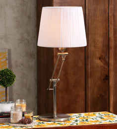 Jainsons Emporio Dextro Silver & White Metal & Fabric Table Lamp