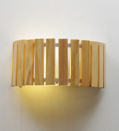 Jainsons Emporio Rockford Wood Drum Wall Light