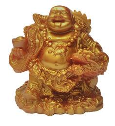 JaipurCrafts Gold Polyresin Feng Shui Laughing Buddha