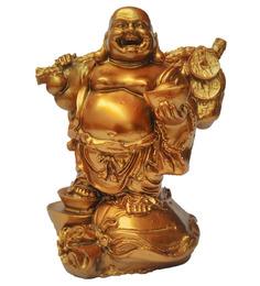 JaipurCrafts Golden Polyresin Feng Shui Laughing Buddha